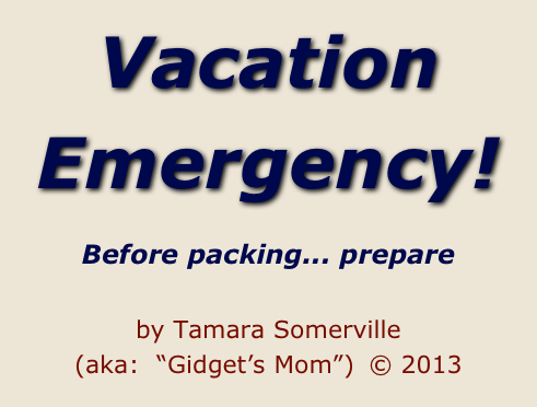 "Vacation Emergency!    Before packing... prepare    by Tamara Somerville  (aka:  ""Gidget's Mom"")  © 2013"